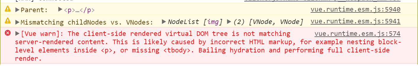 console.error()で &quot:[Vue warn]: The client-side rendered virtual DOM tree is not matching server-rendered content.""
