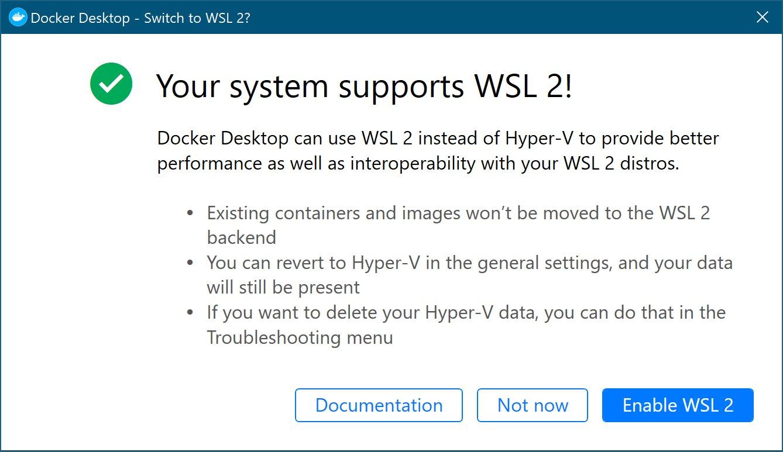 Docker側がWSL2を利用する設定をオンにするか聞いてくる様子