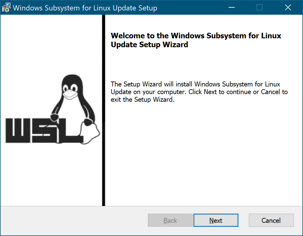 Windows Subsystem for Linux Update Setup のウィンドウ