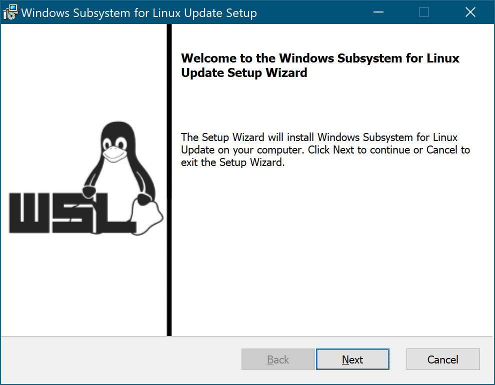 Windows Subsystem for Linux Update Setup のウィンドウ