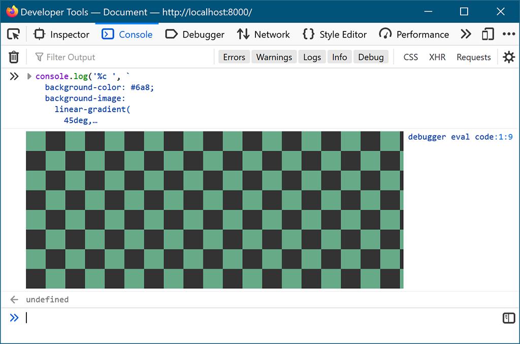 Firefox のコンソールに市松模様を表示する様子。