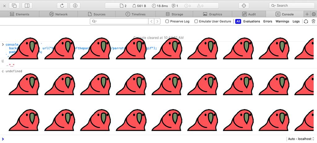 Safari のコンソール画面いぱいに Party Parrot が踊る様子。